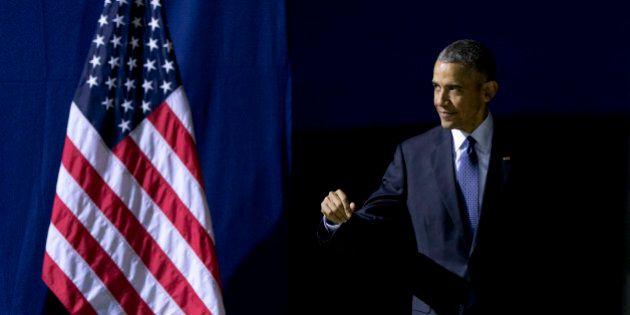 U.S President Barack Obama arrives to speak at the Hannover Messe, the world's largest industrial technology...