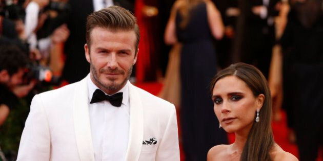 David and Victoria Beckham arrive at the Metropolitan Museum of Art Costume Institute Gala Benefit celebrating...