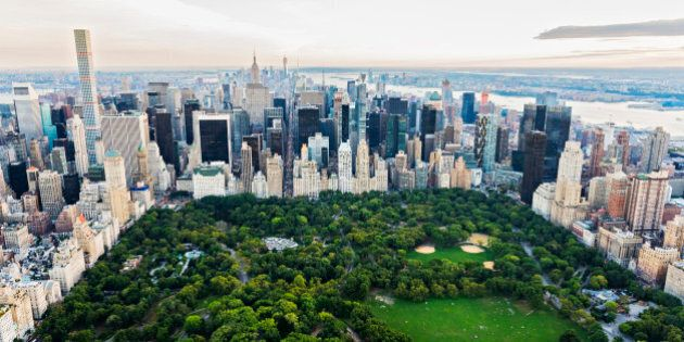 Aerial view of Central Park in New York City cityscape, New York, United