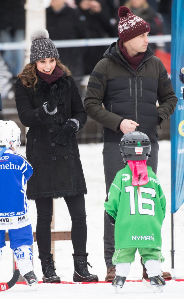 Catherine and William attend a Bandy hockey match during day one of their royal visit to Sweden and