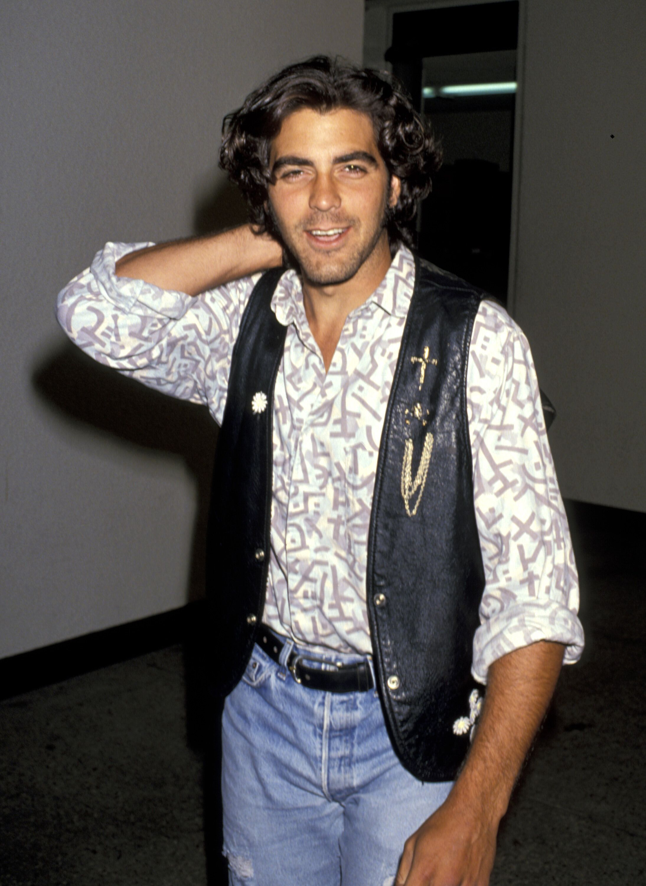 George Clooney with his glossy curls.