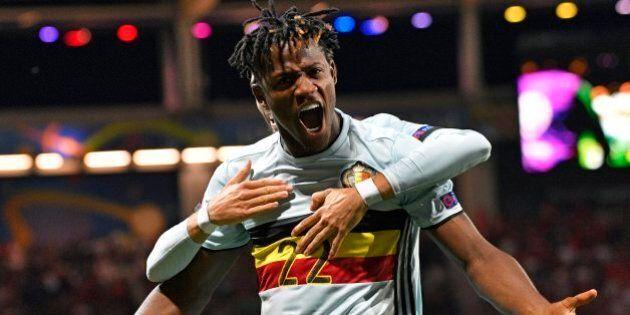 TOULOUSE, FRANCE - JUNE 26 : Michy Batshuayi forward of Belgium celebrates scoring a goal during the...