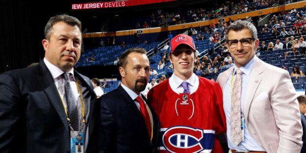BUFFALO, NY - JUNE 25:  William Bitten reacts after being selected 70th by the Montreal Canadiens during the 2016 NHL Draft on June 25, 2016 in Buffalo, New York.  (Photo by Bruce Bennett/Getty Images)
