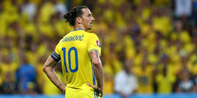 NICE, FRANCE - JUNE 22: Zlatan Ibrahimovic of Sweden looks on during the UEFA EURO 2016 Group E match...
