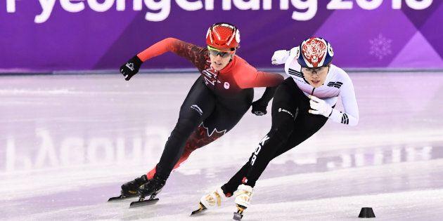 La Canadienne Marianne St-Gelais et la Sud-Coréenne Kim
