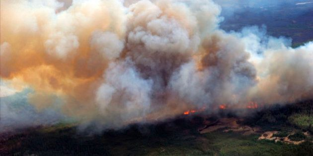 A Canadian Joint Operations Command aerial photo shows wildfires in Fort McMurray, Alberta, Canada in...