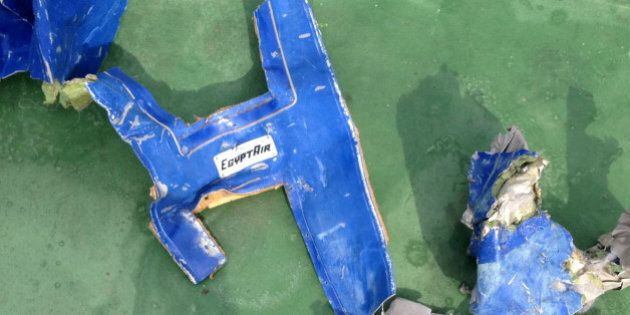FILE PHOTO: Recovered debris of the EgyptAir jet that crashed in the Mediterranean Sea is seen in this...