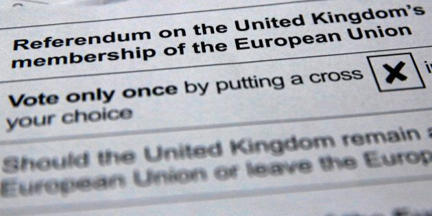Illustration picture of postal ballot papers June 1, 2016 ahead of the June 23 BREXIT referendum when...