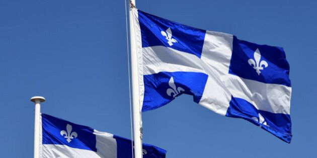 Quebec flag at Saint Malo city in brittany France. Twinning and historic relation between