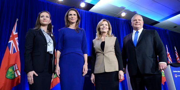 Tanya Granic Allen, Caroline Mulroney, Christine Elliott et Doug Ford, les candidats à la chefferie du...