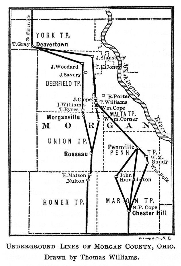 Illustration shows the network of 'Underground Railroad' routes in Morgan County, Ohio, used by slaves to escape into free states or Canada, 1848. Illustration was published in 1898.