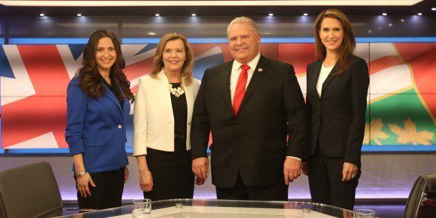 Les candidats Tanya Granic Allen, Christine Elliot, Doug Ford et Caroline