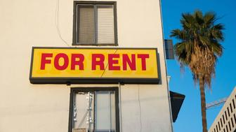 "A ""For Rent"" sign is seen on a building Hollywood, California, May 11, 2016.   Angelinos are feeling the increasing burden of rising rents and threats of eviction as forecast indicate rent prices will continue to rise through 2018. / AFP / ROBYN BECK        (Photo credit should read ROBYN BECK/AFP/Getty Images)"