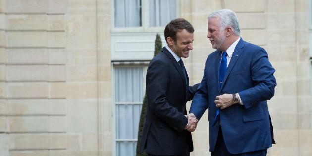Le président français Emmanuel Macron et le premier ministre du Québec Philippe