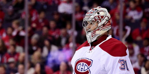 WASHINGTON, DC - DECEMBER 17: Carey Price #31 of the Montreal Canadiens looks on in the first period...