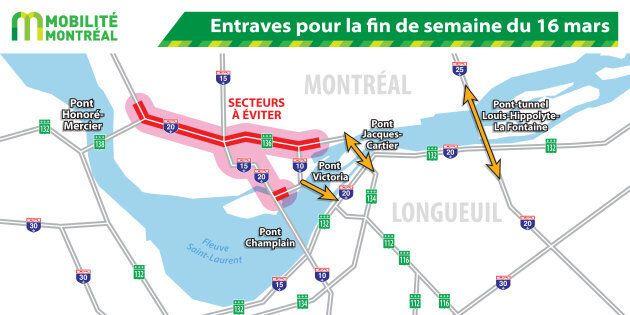 Des entraves majeures sur les routes menant au centre-ville de Montréal cette fin de
