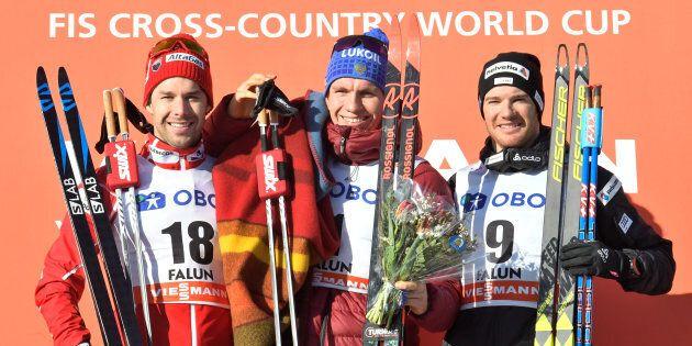 Alex Harvey, Alexander Bolshunov, et Dario Cologna forment le podium à