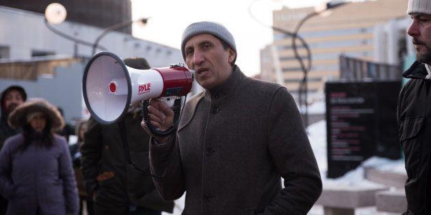 Le député solidaire de Mercier, Amir Khadir, lors d'une manifestation à Montréal.