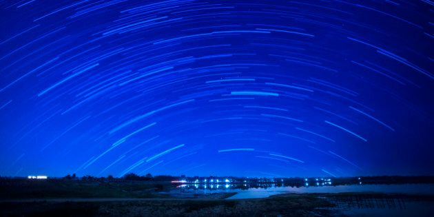 Beautiful star trail image during the