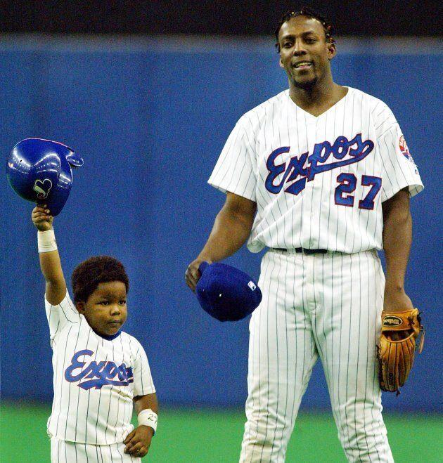 Vladimir Guerrero père et fils, le 29 septembre 2002, au Stade olympique. Vladimir fils était âgé de 3 ans.