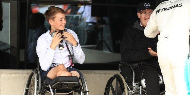 Billy Monger rencontre Lewis Hamilton, le 16 juillet