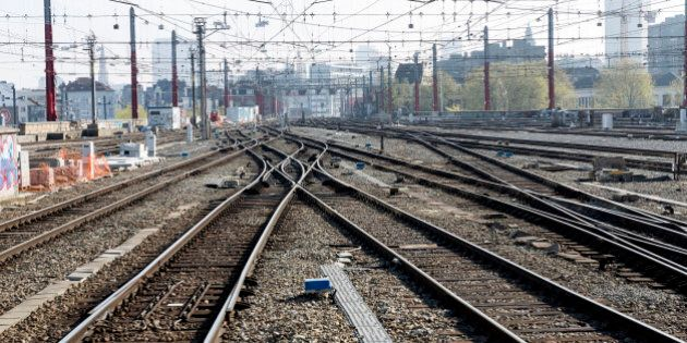 Empty train tracks at Brussels Midi Station during a train strike on Wednesday, April 22, 2015. Both...