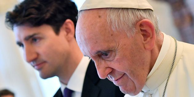 Photo d'archives de la visite de Justin Trudeau au Vatican, en
