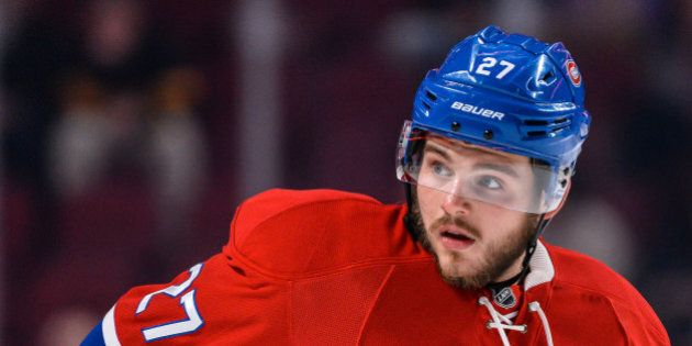 MONTREAL, QC - NOVEMBER 08:  Alex Galchenyuk #27 of the Montreal Canadiens looks on during the warmup prior to the NHL game against the Boston Bruins at the Bell Centre on November 8, 2016 in Montreal, Quebec, Canada.  The Montreal Canadiens defeated the Boston Bruins 3-2.  (Photo by Minas Panagiotakis/Getty Images)