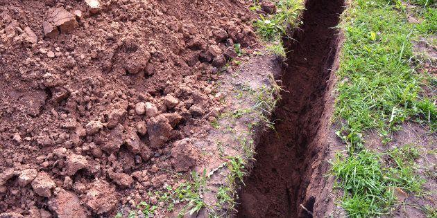 Un ado creuse une tranchée dans sa cour pour un projet sur la Grande