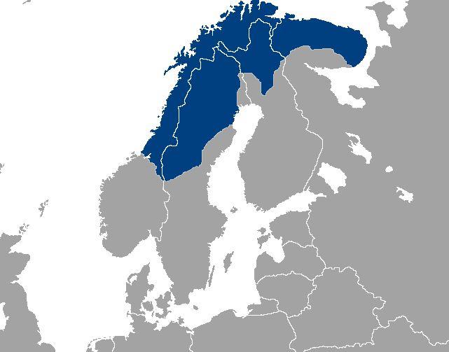 Localisation des populations sami (en bleu).