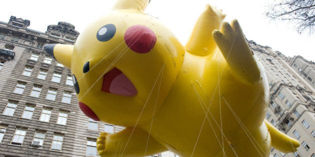 FILE - This Nov. 26, 2009 file photo shows the Pikachu Pokemon balloon floating down Central Park West...