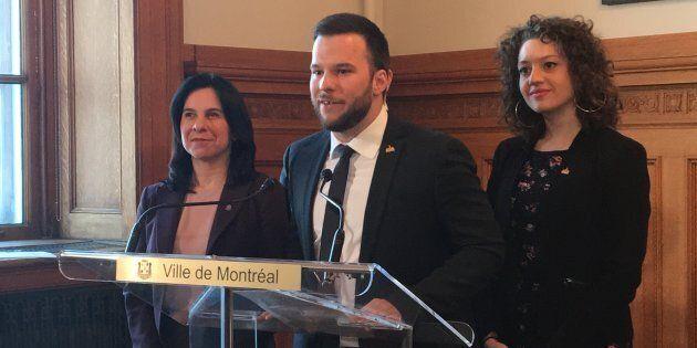 Valérie Plante, Hadrien Parizeau et Rosannie Filato.