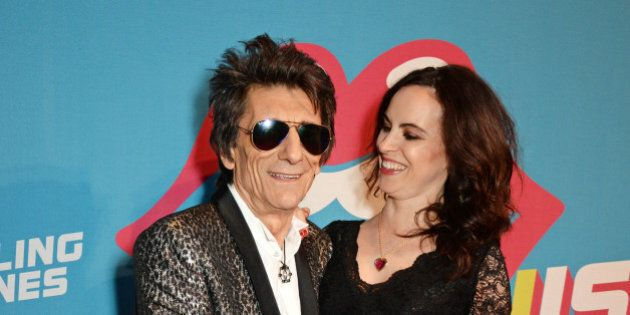 LONDON, ENGLAND - APRIL 04: Ronnie Wood (L) and Sally Wood attend a private view of 'The Rolling Stones:...