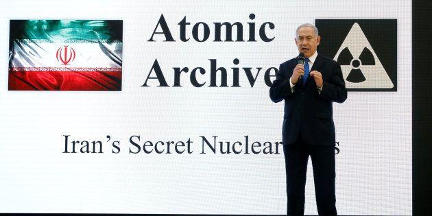 Le premier ministre israélien Benjamin Netanyahu lors d'une conférence de presse au ministère de la Défense...