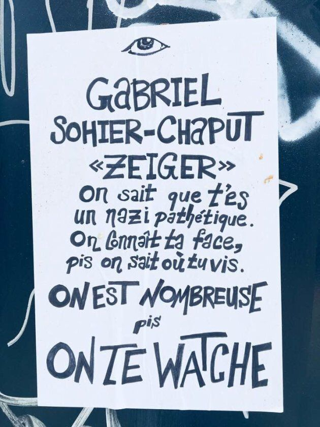 Une des affiches aperçues au coin des rues Bélanger et Normandville jeudi matin.