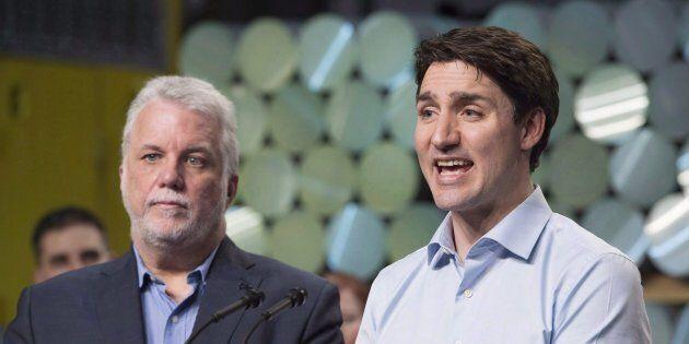 Les premiers ministres Philippe Couillard et Justin Trudeau étaient à Lac-Mégantic,