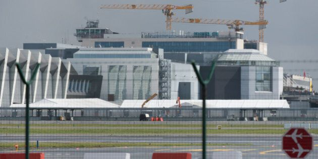 A picture taken on March 29, 2016 in Zaventem shows tents at Brussels Airport, where authorities are...