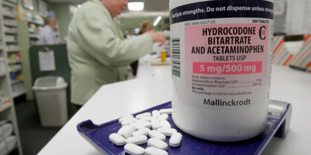 Hydrocodone pills, also known as Vicodin, are arranged for a photo at a pharmacy in Montpelier, Vt. on...