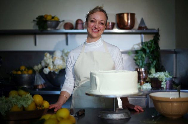 Claire Ptak with the royal wedding cake.