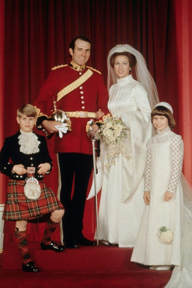 Princess Anne on her wedding day with her husband Mark