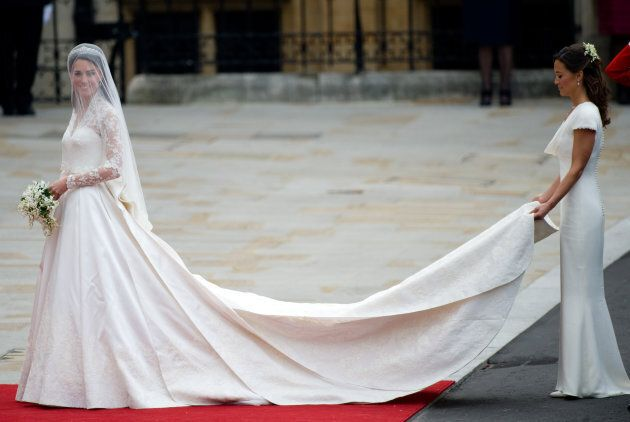 Kate Middleton and her sister Pippa on Kate and Prince William's wedding day in