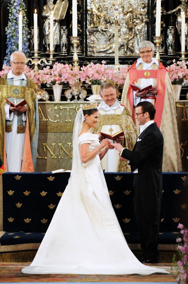 Crown Princess Victoria of Sweden and her husband Prince Daniel during their wedding ceremony on June...
