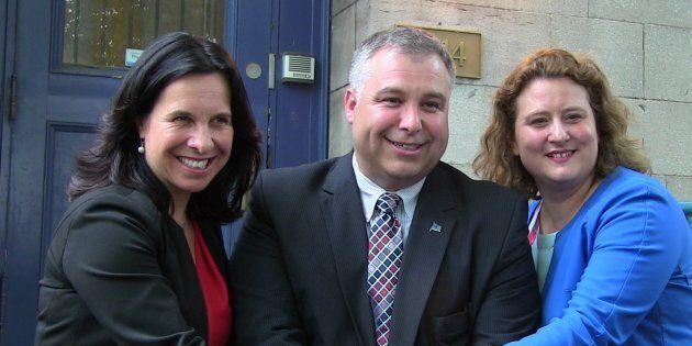 La mairesse Valérie Plante, le ministre de l'Éducation Sébastien Proulx et la présidente de la CSDM,...