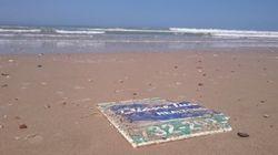 Ce panneau arraché sur la côte Est américaine il y a 6 ans a échoué sur une plage