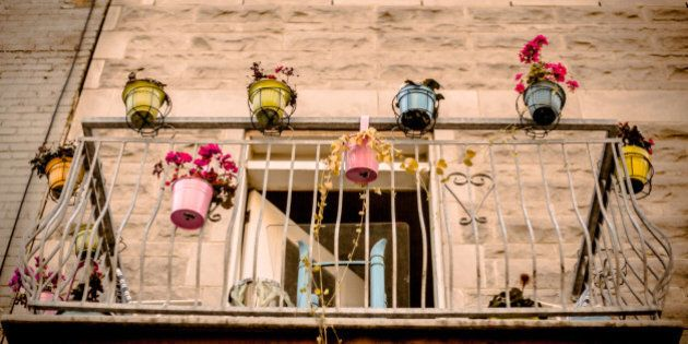 A balcony in the Mile End neighbourhood of Montreal is decorated with colourful potted plants. The punch...