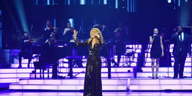 LAS VEGAS, NV - FEBRUARY 23: (EXCLUSIVE COVERAGE)  Celine Dion performs during her emotional return to the Colosseum at Caesars Palace on February 23, 2016 in Las Vegas, Nevada.  (Photo by Denise Truscello/WireImage)