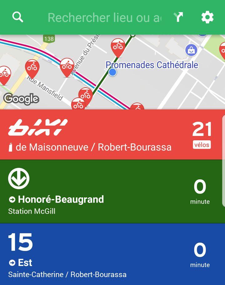 L'application Transit permet actuellement de voir en temps réel les transports disponibles sur l'île de Montréal.