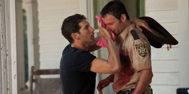Jon Bernthal et Andrew Lincoln sur le tournage de la saison 2 de la série «The Walking Dead».