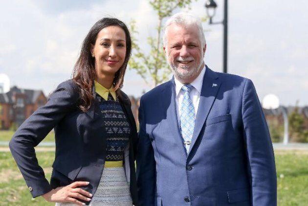 Marwah Rizqy, candidate libérale dans Saint-Laurent, et Philippe Couillard.
