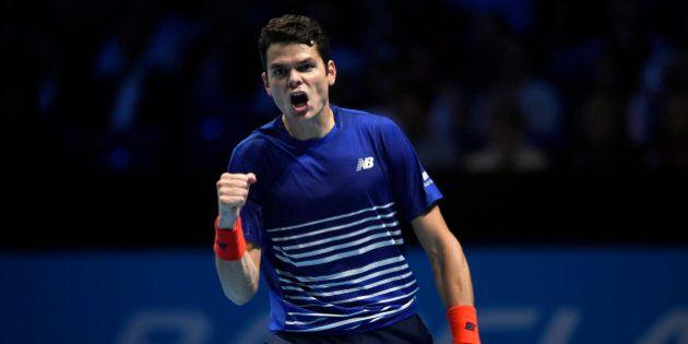 Britain Tennis - Barclays ATP World Tour Finals - O2 Arena, London - 17/11/16 Canada's Milos Raonic celebrates...